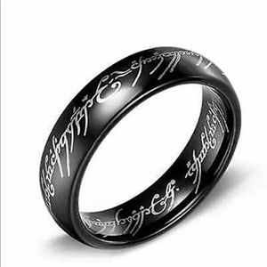 Men's black stainless steel filled ring 13